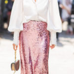 The sequin skirt worn during the day is the new must have