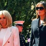 Melania Trump, mourning look in Normandy. And it's cold with Brigitte Macron