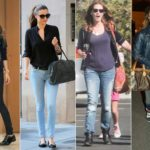 Street style of celebrities: jeans and sneakers won together