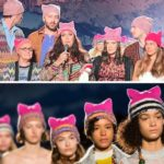 The Missoni show for women's rights. All (including guests) with a pink hat