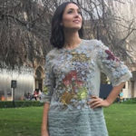 Caterina Balivo at the Salone del Mobile turns into Mickey Mouse