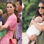 Kate Middleton and Meghan Markle with their children at the polo match. Archie's first release