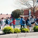 The time for the walk arrives at school, to promote psychological well-being