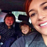 Alena Seredova in the States with her children and new partner