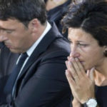 Agnese Renzi in tears at the funeral of the victims of the earthquake
