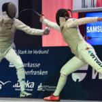 Fencing: foil, Italian podium. Di Francisca beats Batini and Errigo