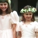 Kate Middleton and Pippa in 1991, bridesmaids at her uncle's wedding