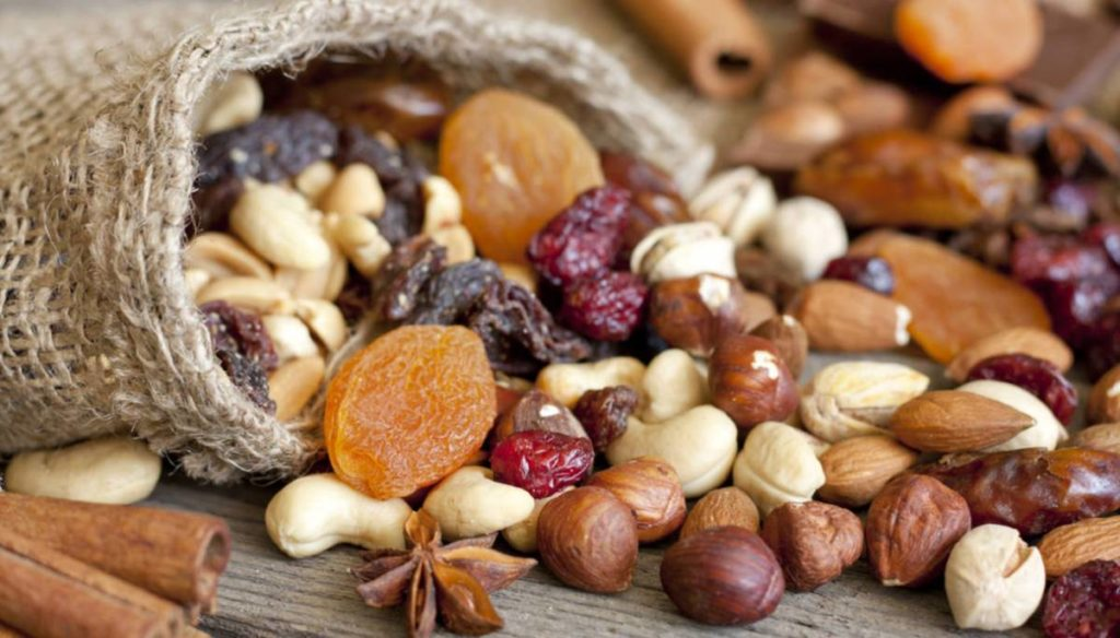 Dried fruit: nuts, peanuts and almonds do very well