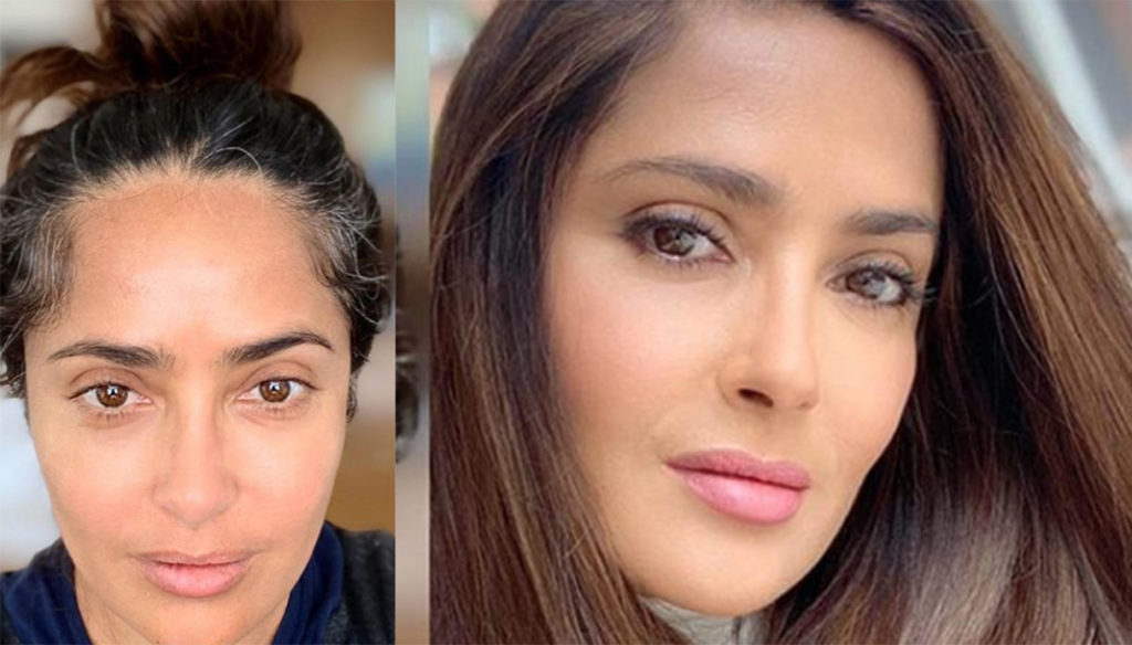 """Salma Hayek shows the regrowth: """"I go back to work, I touch the color"""""""