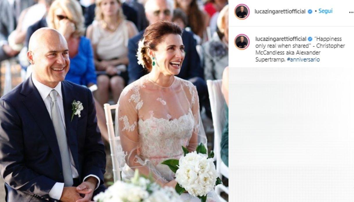 Luca Zingaretti and Luisa Ranieri on their wedding day