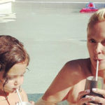 Brigitte Nielsen, 57 years old, pool party with Frida, 2 years old