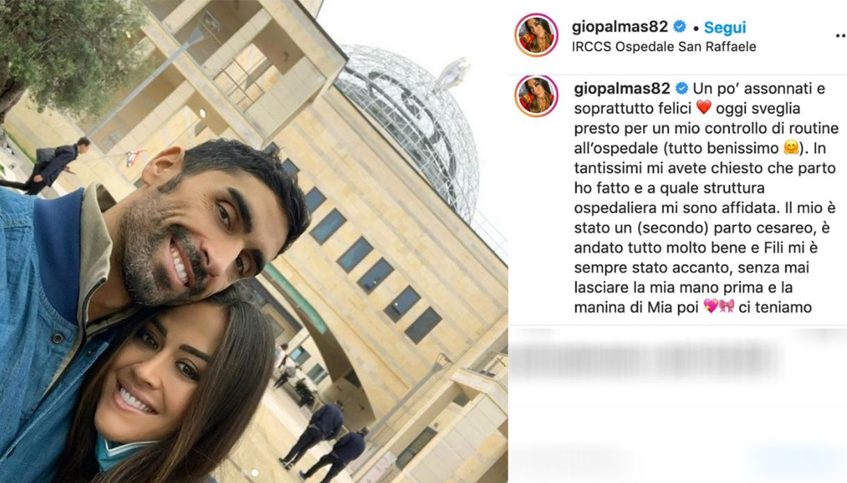 Palmas and Magnini post instagram about childbirth