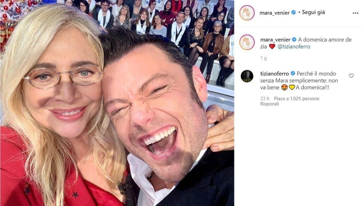 Mara Venier on Instagram with Tiziano Ferro