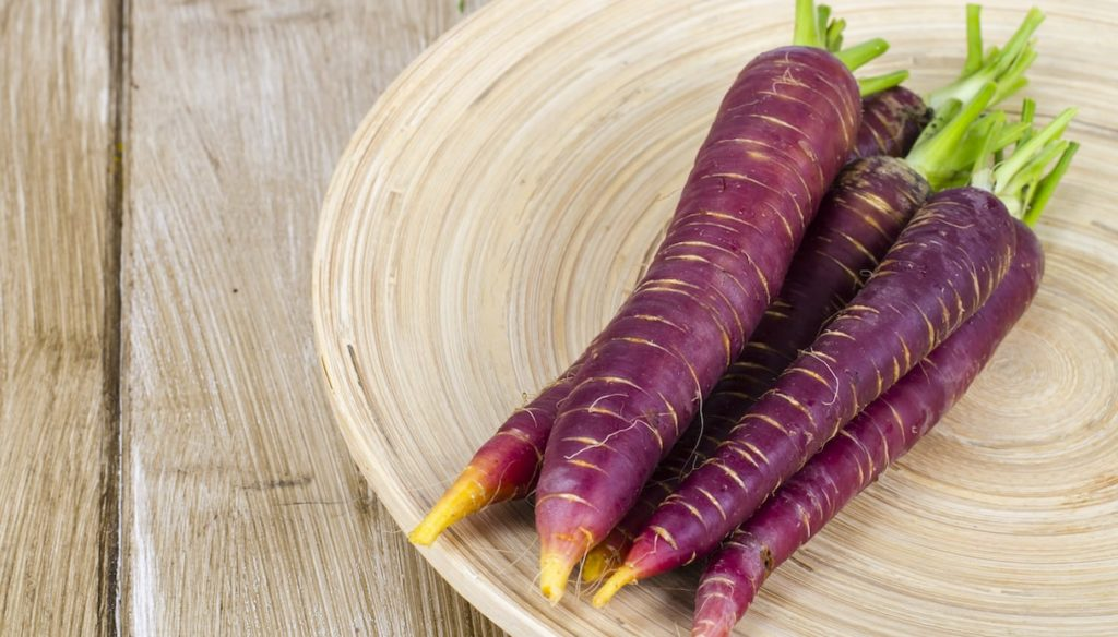 Diet with purple carrots, rich in anthocyanins against aging