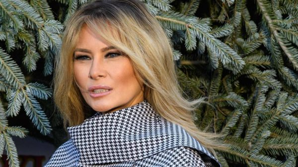 Melania Trump, divine coat for the last Christmas tree. But the party is stormy