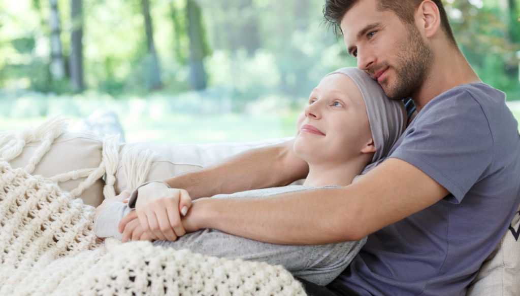 He and she, the man recounts the experience alongside the woman with cancer