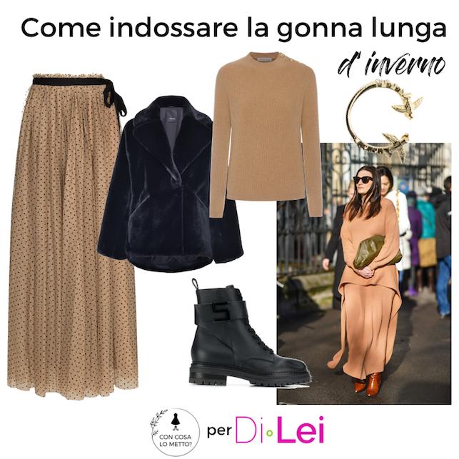 Long winter skirt: look ideas