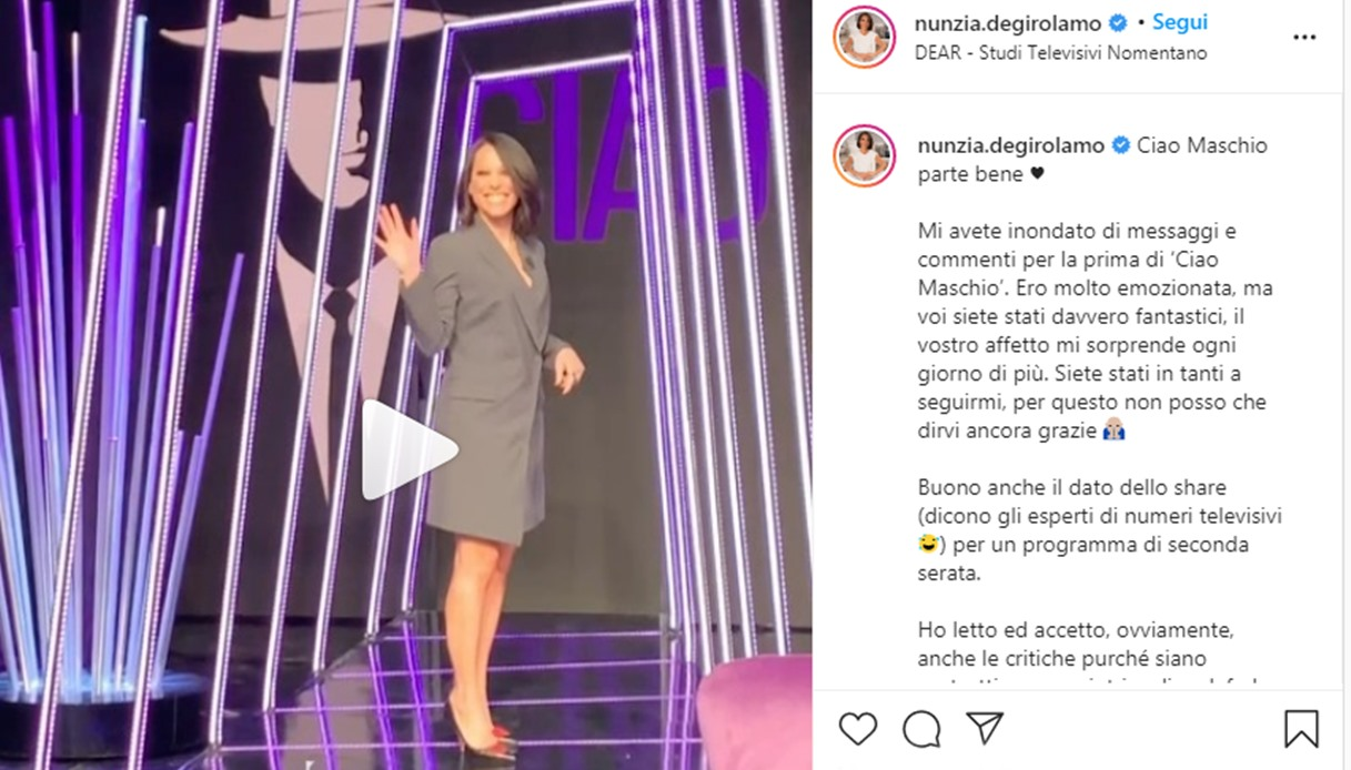 Nunzia De Girolamo comments on the first episode of Ciao Maschio on Instagram