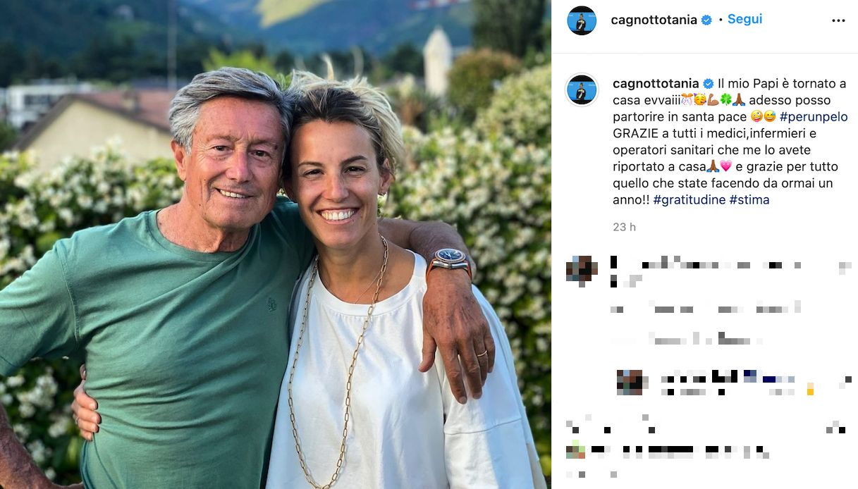 Tania Cagnotto, father Giorgio is healed from Covid