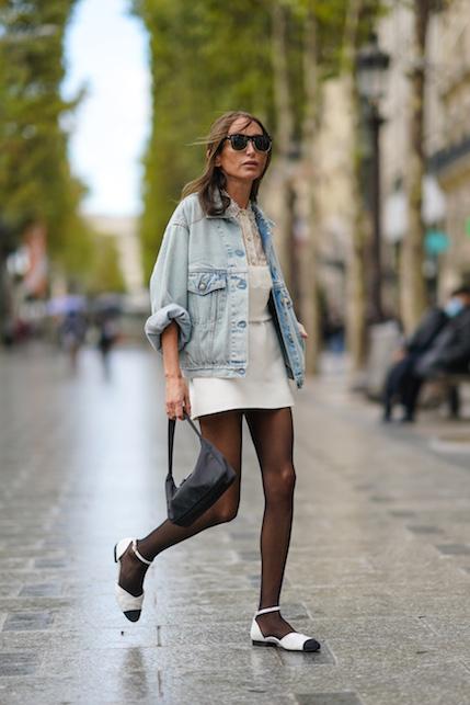 Ballet flats and sheer stockings