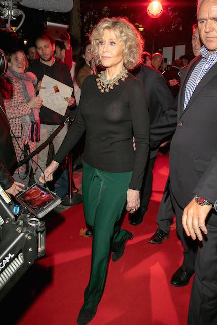 Jane Fonda in green and black