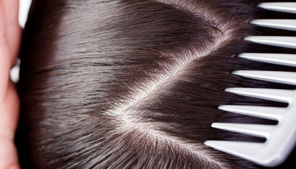 central line zig zag dark hair and white comb