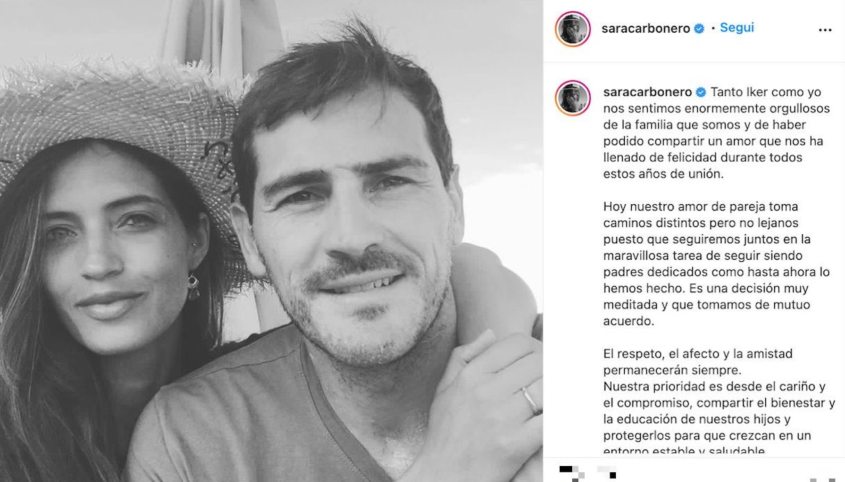 Sara Carbonero and Iker Casillas, the announcement of the separation