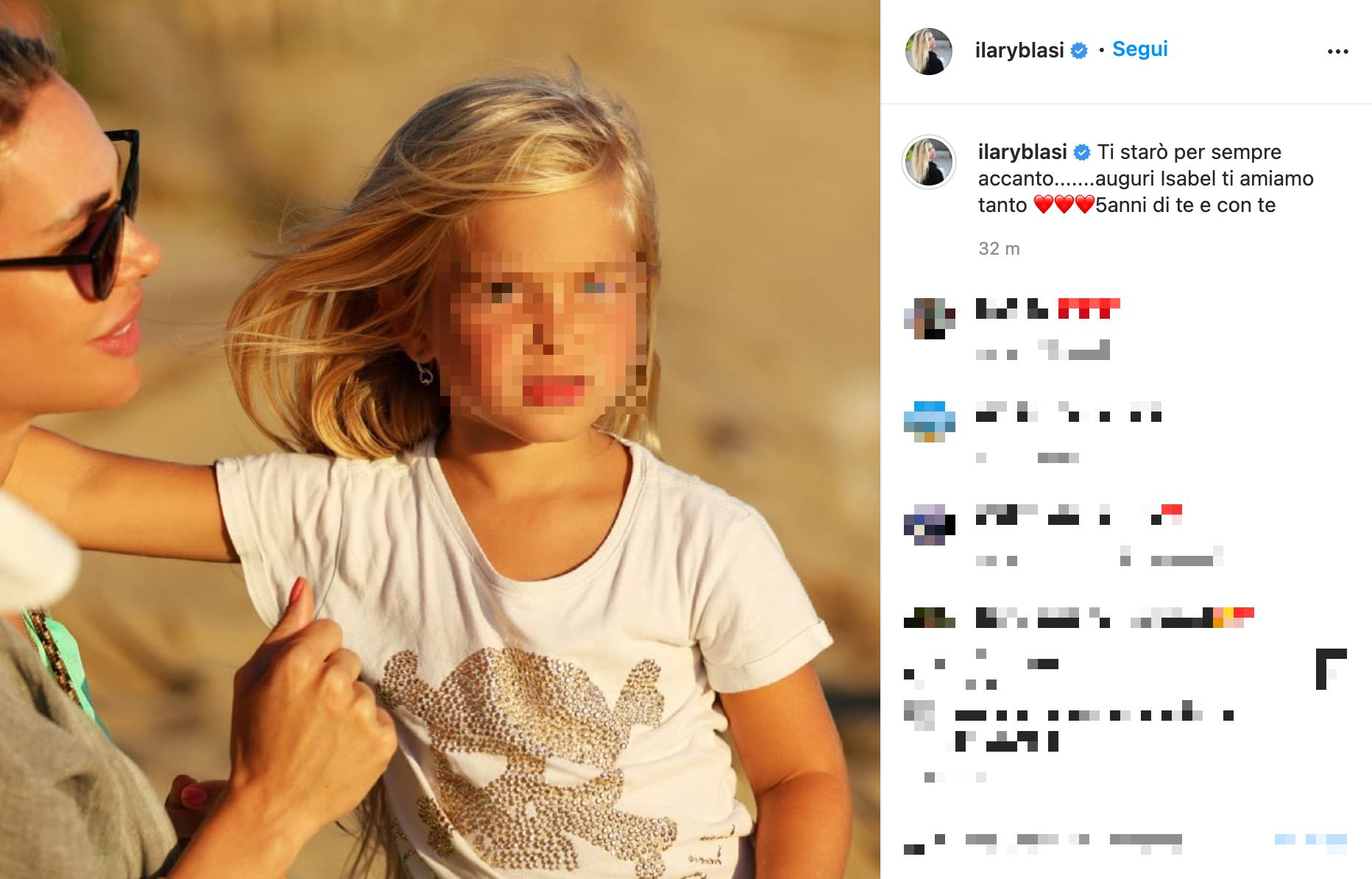 Isabel Totti, best wishes from mother Ilary Blasi
