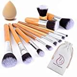 Bamboo Make up brushes - 12 natural make up brushes - Vegan make up brush set - Start Makers Kabuki brush - professional make up brushes - extremely soft - make up sponge