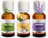 SEJESS, The Three Best Selling Essential Oils, Lavender, Lemon, Tea Tree- Italian-Organic -100% Pure (10 ml) Icea Certified Bio-Food Use-Internal Use-Aromatherapy