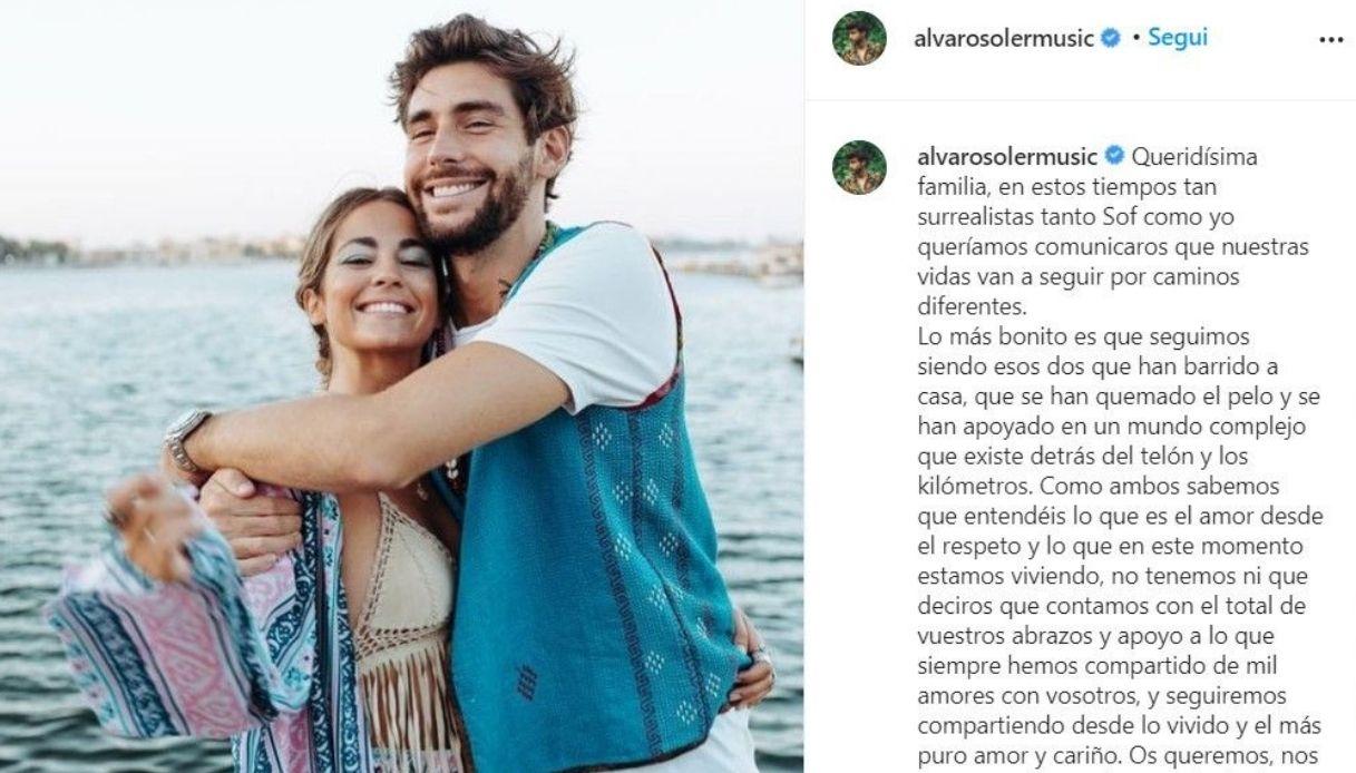 Alvaro Soler, the post on Instagram