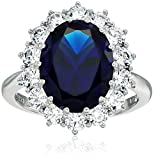 Platinum Plated Sterling Silver 'Kate' Ring with Swarovski Cubic Zirconia, Synthetic Blue Sapphire, Size 6