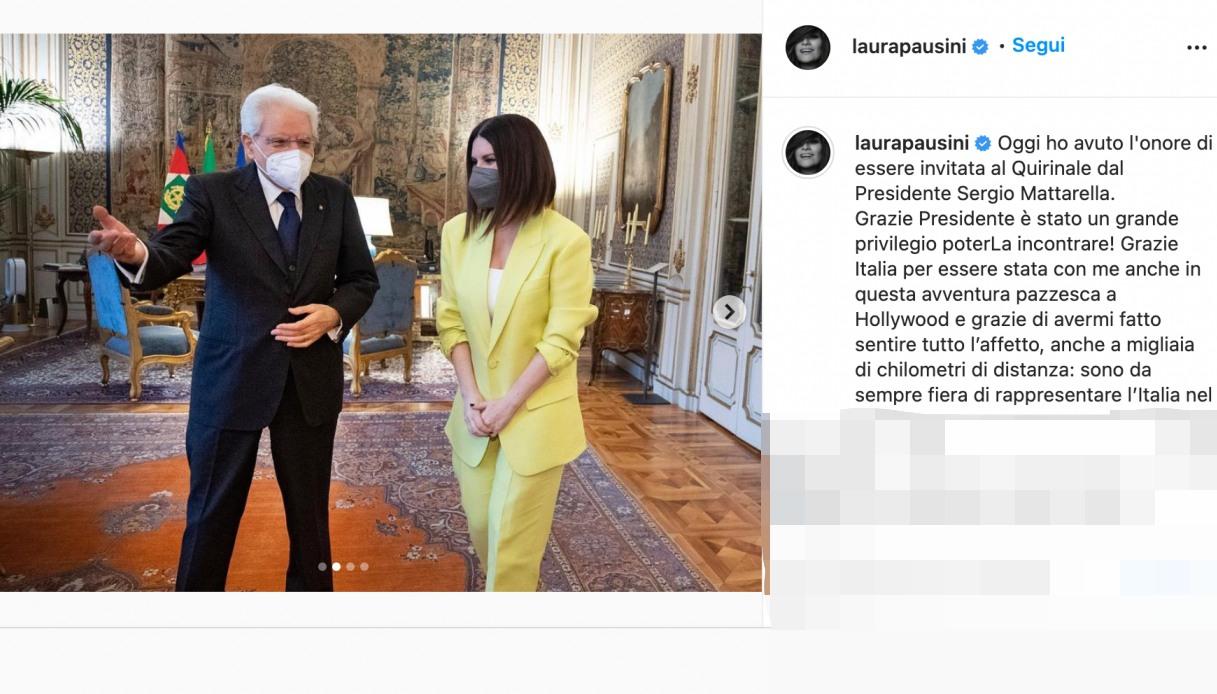 Laura Pausini and the President Mattarella post