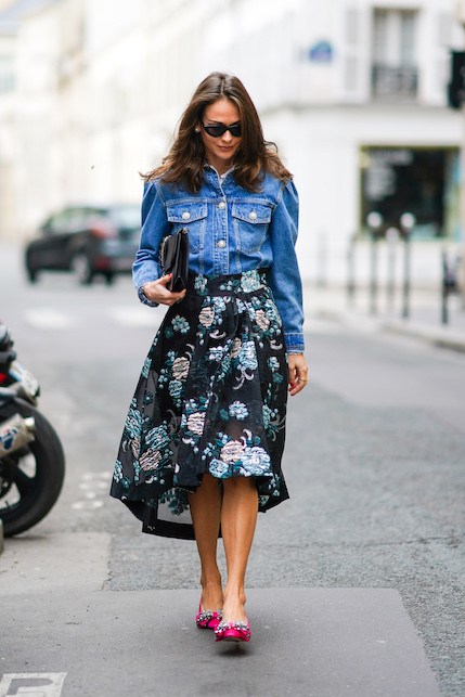 How to combine the long floral skirt: look ideas