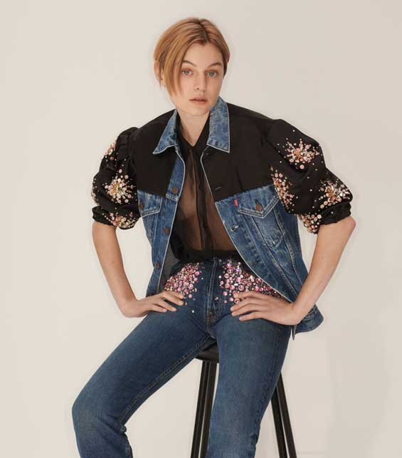 Upcycled by Miu Miu in collaboration with Levi's - Emma Corin