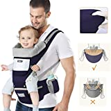 Ergonomic Baby Carrier, Baby Carrier with Multiposition Seat, with Headrest and Hood, Lightweight Breathable Pure Cotton, Ideal for Babies and Babies from 0-36 Months (Under 25kg) Dark Blue