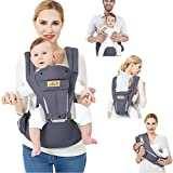 Viedouce Ergonomic Baby Carrier with Seat / Lightweight and Breathable Pure Cotton / Multiposition: Back, Ventral, Adjustable to Newborn and Child from 3 to 48 Month (3.5 to 20 Kg)