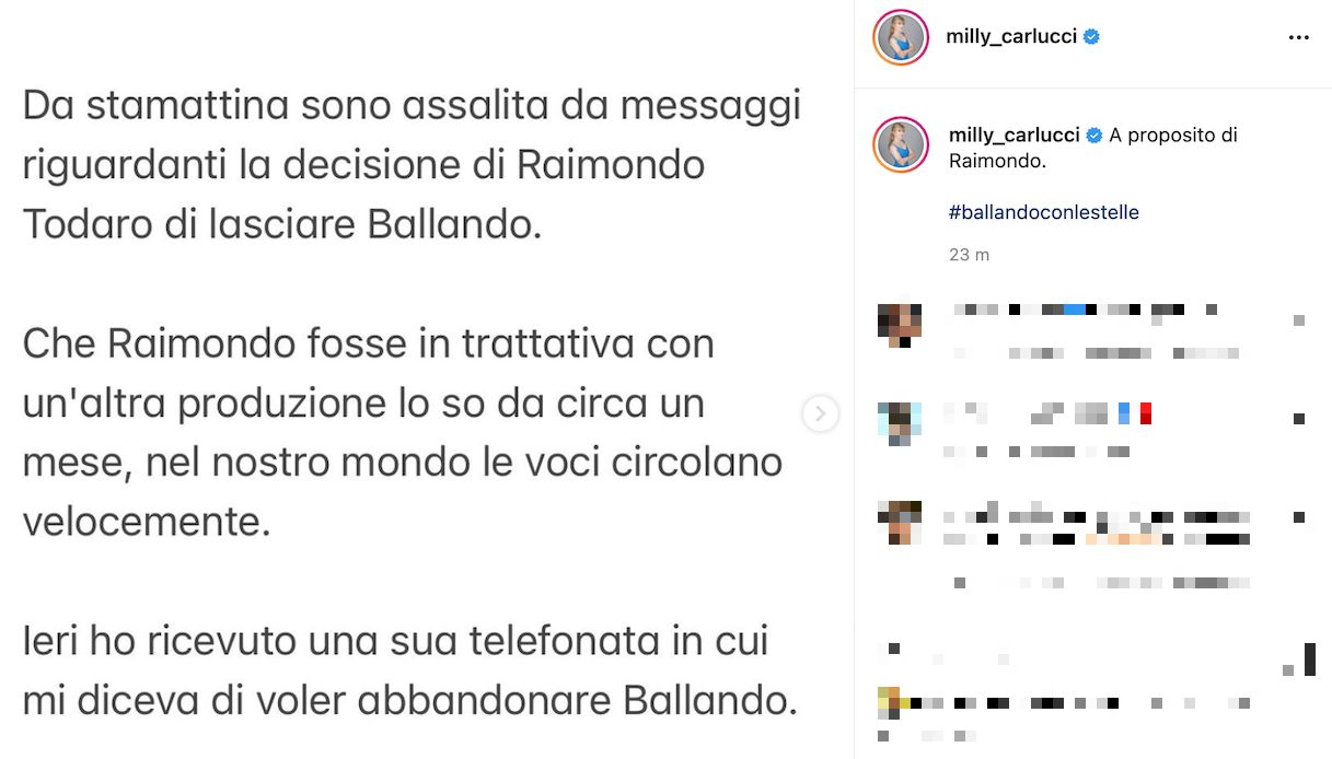 Milly Carlucci, the reaction to Todaro's farewell