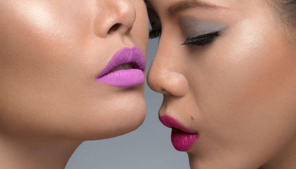 Asian girls fuchsia and lilac lipstick