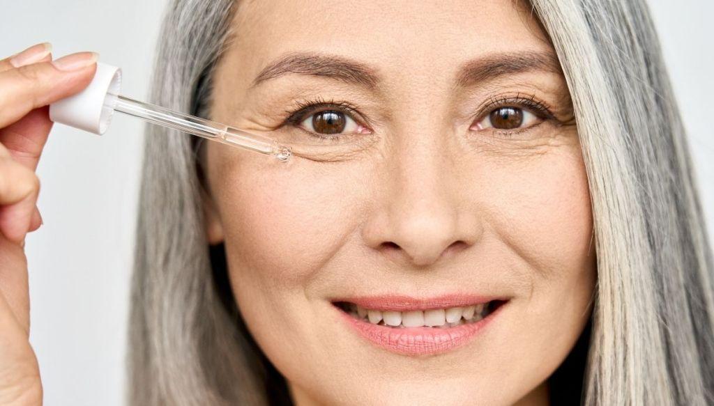 elderly woman eye wrinkle cream